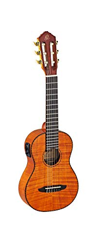 Ortega RGLE18FMH Guitarlele (Mix Gitarre / Ukulele) im hochglänzenden Finish mit aktivem Preampsystem elektrifizierter Tuner mit hochwertigem Gigbag