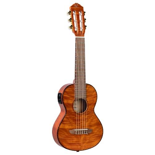 Ortega Guitars Guitarlele - 6 Saiten - Timber Series - elektro-akustisch - inklusive Gigbag - geflammtes Mahagoniholz (RGLE18FMH)