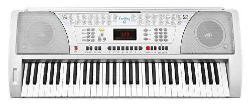 Funkey 61 SL Keyboard Silber (61 Tasten, 100 Klangfarben, 100 Rhythmen, 8 Demo Songs, Netzteil, Notenständer)