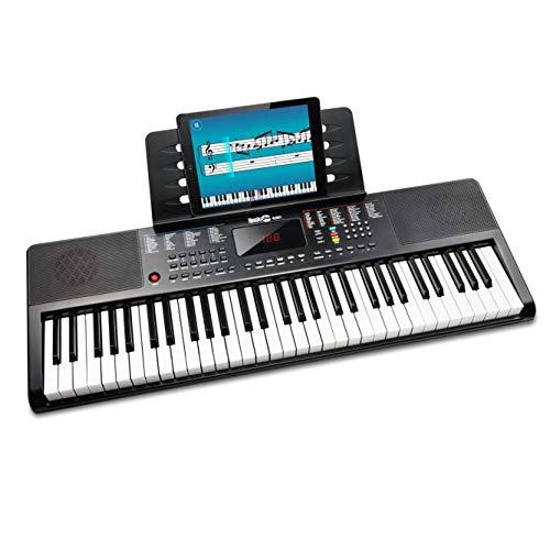 RockJam 61-Tasten-Tastatur Klavier mit Klaviernote Aufkleber Stromversorgung Notenständer und einfach Klavier Anwendung