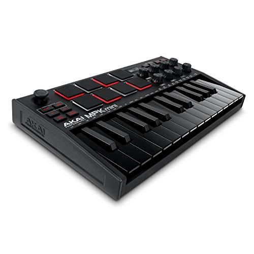 AKAI Professional MPK Mini MK3 Black – 25-Tasten USB MIDI Keyboard Controller, 8 hintergrundbeleuchtete Drum Pads, 8 Regler, Musikproduktion-Software