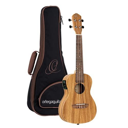 Ortega Guitars Konzert Ukulele - Timber Series - elektro-akustisch - inklusive Gigbag - Zebrano, Mahagoni (RFU11ZE)
