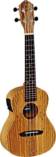 Ortega Guitars RFU11ZE Konzert Ukulele Friends Serie Preamp-System mit eingebautem chromatischem Stimmgerät Zebraholz im seidenmatten Finish mit Gigbag