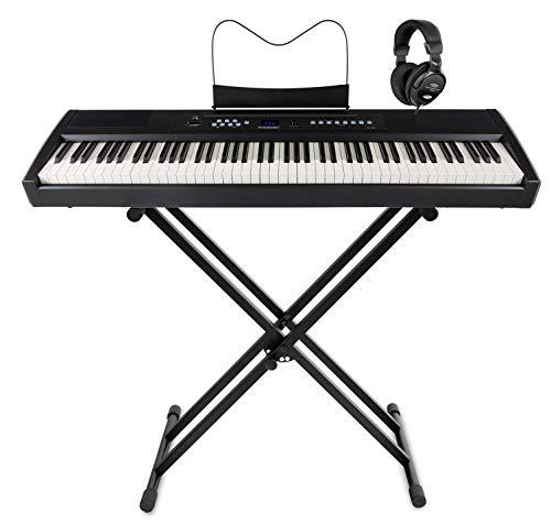 McGrey SP-100 Piano Stage Set (portables E-Piano mit 88 Tasten, Hammermechanik, Kopfhöreranschluss, Aufnahmefunktion im Set mit X-Keyboardständer & Komfort-Kopfhörer) schwarz
