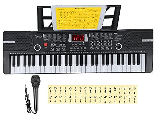 Elektronische 61 Tasten Home-Keyboards mit Begleitautomatik, Tragbarer Digital 61 Schlüssel Klaviertastatur Tastatur Piano mit Notenständer & Mikrofon, Jungen und Mädchen Geschenk (Schwarz)