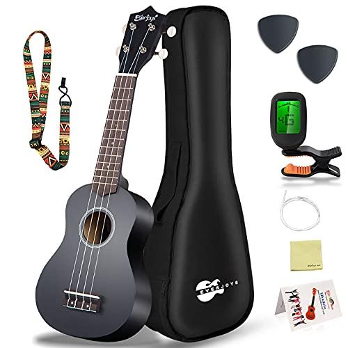Everjoys Sopran Ukulele Set für Kinder und Erwachsene 21 Zoll Ukulele Starter Kit mit Tasche, Tuner, Songbook, Saiten, Pick, Kleine Hawaii Gitarre Schwarz