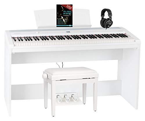 Steinmayer P-60 WM Stagepiano Home Set (88 Tasten und passendem Unterbau, Hammermechanik, Anschlagdynamik, 128-fach polyphon, 14 Sounds, inkl. Pianobank, Kopfhörer, Notenhalter, & Noten) Weiß