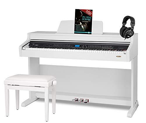 Classic Cantabile DP-A 410 WM E-Piano Set inkl. Bank, Kopfhörer und Schule (Digitalpiano 88 Tasten Hammermechanik, Kopfhöreranschluss, USB, Begleitautomatik, 3 Pedale, inkl. Noten und Hocker) weiß
