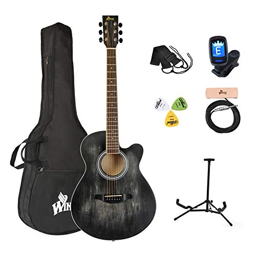 Winzz Akustikgitarre Schwarz, Westerngitarre 40 Zoll, Gitarre Anfänger Set mit Gitarre Tonabnehmer, Gitarrenständer, Gitarren Plektrum, Gitarrengurt, Gitarrenstimmgerät, Gitarrentasche