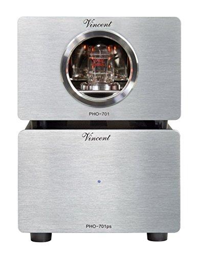 Vincent PHO-701, High-End Röhren-Phono-Vorverstärker, externes Netzteil, USB-Ausgang zum Digitalisieren von Vinyl-Platten, für MM und MC-Abtastsysteme, Silber
