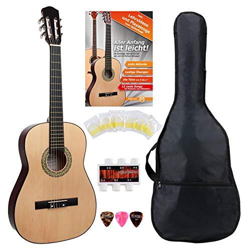 Classic Cantabile AS-851 7/8 Konzertgitarre Starter Set (Komplettes Anfänger Set mit Klassik Gitarre, Gigbag Tasche, Nylonsaiten, Lehrbuch/Schule, 3x Plektren und Stimmpfeife)