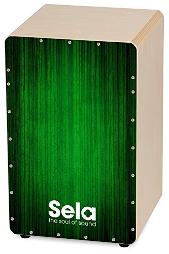 Sela SE 053 Varios Green Snare Cajon mit Sela Snare System, geeignet für Anfänger und Fortgeschrittene, Made in Germany