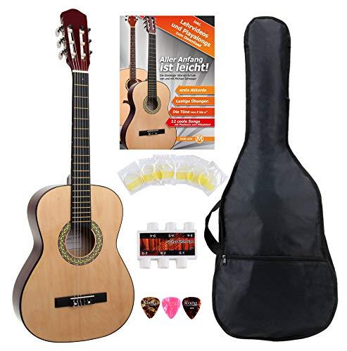 Classic Cantabile AS-851 3/4 Konzertgitarre Starter Set (Komplettes Anfänger Set mit Klassik Gitarre, Gigbag Tasche, Nylonsaiten, Lehrbuch/Schule, 3x Plektren und Stimmpfeife)
