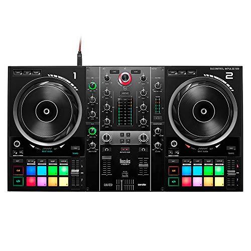 Hercules DJControl Inpulse 500 (2-Deck DJ Controller, Beatmatch Guide, IMA, 16 RGB Pads, integr. Soundkarte/Mixer, Mic-In, DJ Academy, DJUCED & Serato DJ Lite, PC / Mac)