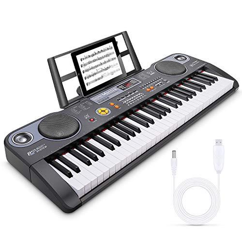Magicfun Digital Piano 61 Tasten, Elektronische Klavier Keyboard Piano mit Notenständer zum Lernen, Eingebauten Lautsprecher und Aufnahmemodus, Geschenk für Kinder oder Anfänger