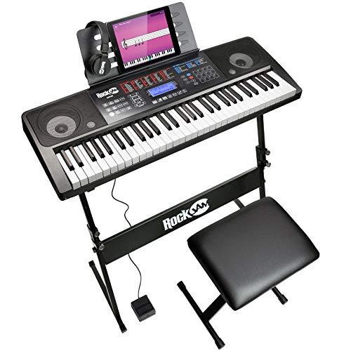 RockJam 61 Tastatur Klaviersatz 61 Schlüssel-Digital-Piano Keyboardbank Keyboardständer Kopfhörer Sustain-Pedal und einfach Klavier Anwendung